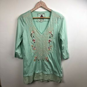 Johnny Was JWLA mint green tunic size small
